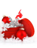 Red christmas gift with balls Royalty Free Stock Photography