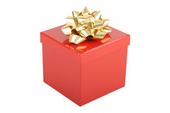 Red christmas gift box with gold bow Stock Photo