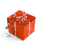 Red Christmas gift boxes on white background Stock Image