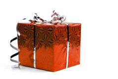 Red Christmas gift boxes on white background Royalty Free Stock Photography