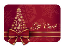 Red Christmas gift card with wine ribbon and gold Stock Image