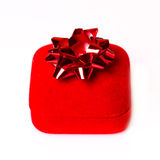 Red Christmas gift with ribbon Royalty Free Stock Photography