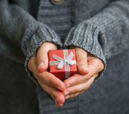 Red Christmas gift with silver bow Royalty Free Stock Photo