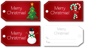 Red christmas gift tag. Set front and back illustration vector design no shadow on the vector eps10 Stock Images