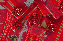 Red Christmas gifts Stock Images