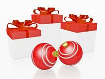 Red Christmas Gifts and Bauble Balls Royalty Free Stock Images