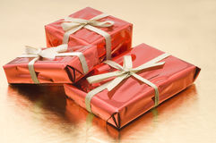 Red Christmas gifts in a box Royalty Free Stock Image