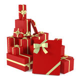 Red christmas gifts isolated. See my other works in portfolio Royalty Free Stock Photography