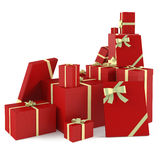 Red christmas gifts isolated. See my other works in portfolio Stock Image