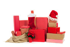 Red Christmas gifts Stock Image