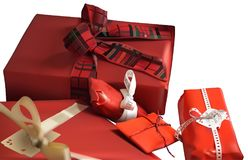 Red Christmas Gifts on White Background Stock Photos