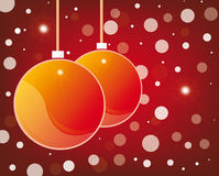 Red christmas glossy balls on blue background Royalty Free Stock Image