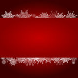 Red Christmas gradient background with snowflakes clean white mi Stock Photos