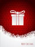 Red christmas greeting with bursting christmas giftbox Stock Photography