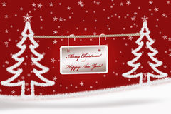 Red Christmas greeting card background with fir trees Stock Photos