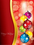 Red christmas greeting card design with gold wave Stock Image