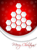 Red christmas greeting card design with hexagon tree Stock Photography