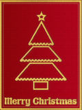 Red Christmas greeting card with embroidery Royalty Free Stock Photos