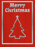 Red Christmas greeting card with embroidery Royalty Free Stock Images