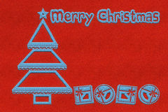 Red Christmas greeting card with embroidery Stock Image