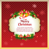 Red Christmas Greeting Card. File in eps 10 file, with no gradient meshes,blends,opacity, stroke path,brushes. Also all elements grouped and layered Stock Images