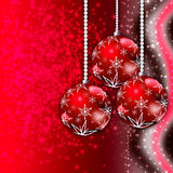 Red Christmas greeting card. Christmas illustration with Red balls and snowflakes. Christmas Greeting Card 2015.Bright winter background with beautiful  toy Royalty Free Stock Photo