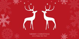 Red christmas greeting card with reindeers and snowflake border vector illustration