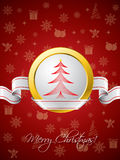 Red christmas greeting card with ribbon design Stock Photography