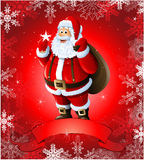 Red Christmas greeting card with santa claus Royalty Free Stock Photography