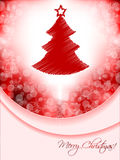Red christmas greeting card with scribbled tree and bubble backg Stock Photo