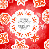Red Christmas greeting card with snowflakes Royalty Free Stock Images