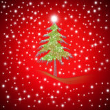 Red Christmas greeting Fir tree Stock Images