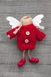 Red christmas or guardian angel - handmade - christmas decoratio. Red handmande christmas or guardian angel - christmas decoration Stock Photography