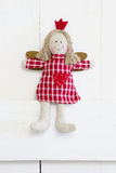 Red christmas or guardian angel in white checkered red - country Stock Photos