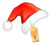 Red christmas hat with price label Stock Photo