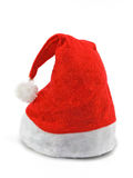 Red Christmas hat on white. Red Christmas hat with white stripe on white Stock Photo
