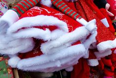 Christmas hats for sale at opened Christmas market in Cuenca, Ecuador. royalty free stock images
