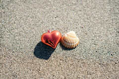 Red Christmas heart and seashell Stock Photo
