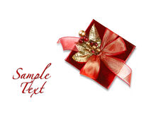Red Christmas Holiday Gift on White Background Stock Images