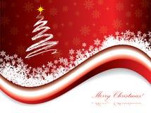 Red christmas holiday greeting card. Christmas holiday greeting card with snowy wave Royalty Free Stock Photo