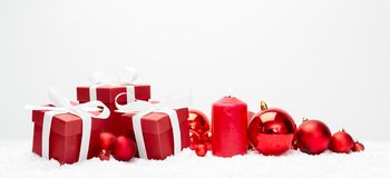 Red christmas holidays decoration on a white background stock photo