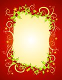 Red Christmas Holly and Stars vector illustration