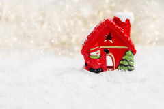 Red Christmas House in the Snow Royalty Free Stock Images