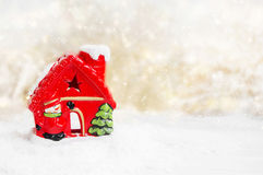 Red Christmas House in the Snow Stock Photography
