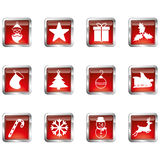 Red Christmas icons Royalty Free Stock Image