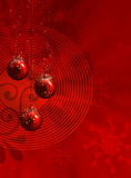 Red christmas illustration with balls Stock Image