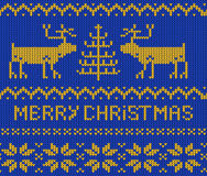 Red Christmas Jumper seamless knitted Pattern with deers. Royalty Free Stock Photo