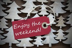 Red Christmas Label With Enjoy The Weekend Stock Photos