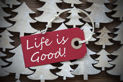 Red Christmas Label With Life Is Good Royalty Free Stock Photo