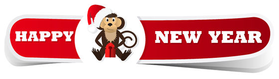 A red Christmas label with the monkey. Vector illustration Royalty Free Stock Photography